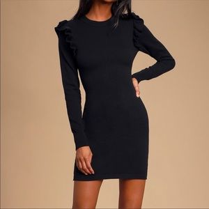 ❣️ Black Ruffled Long Sleeve Sweater Dress
